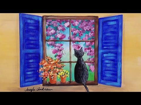 CAT In A Window With Flowers Acrylic Painting LIVE Beginner Step By