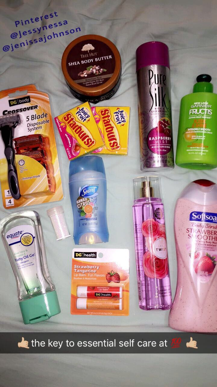 The Best Things All Bought At The Dollar Store Except For The Shea Butter At The Top I Smell So Fruity Healthy Skin Care Skin Care Hair Care Body Skin Care