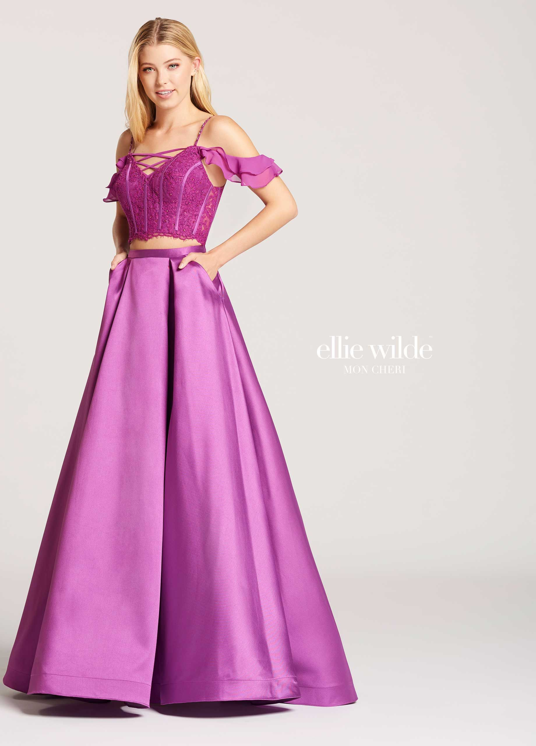 Two-Piece Mikado & Lace A-Line Prom Dress With Pockets- EW118008