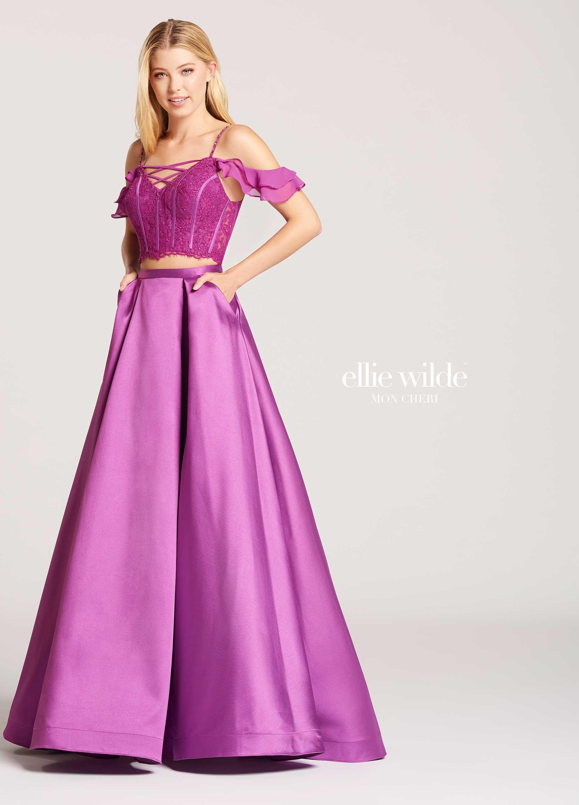 Two-Piece Mikado & Lace A-Line Prom Dress With Pockets- EW118008