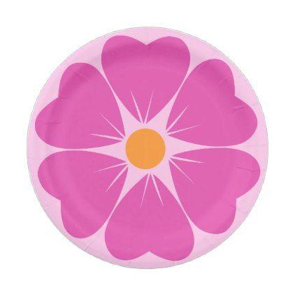 Pink Flower Paper Plates  sc 1 st  Pinterest & Pink Flower Paper Plates | Flower paper
