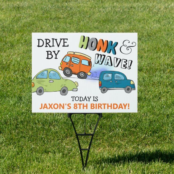 Honk & Wave Colorful Car Birthday Sign | Zazzle.com