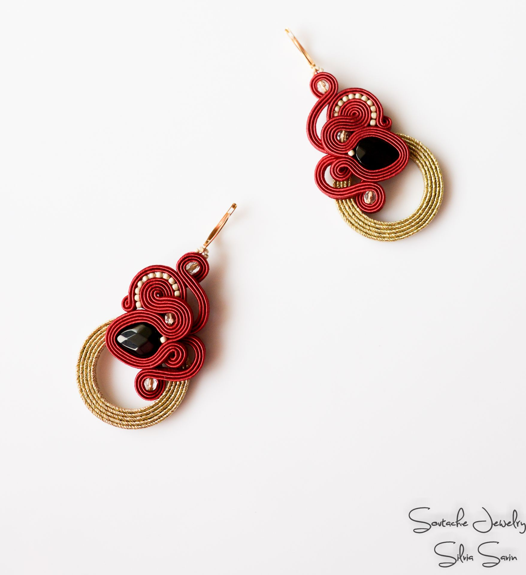 earrings in style glazed jewellery gold rose ring red