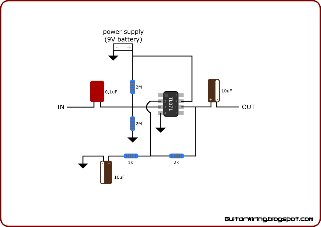 guitar wiring diagrams customization diy projects mods for any i would like to show you the diagram of a simple guitar preamp unit it s based only on eight parts including op amp the preamp