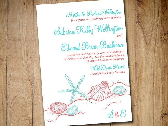 Beach Wedding Invitation Template Destination Starfish C Turquoise Sandy Ss