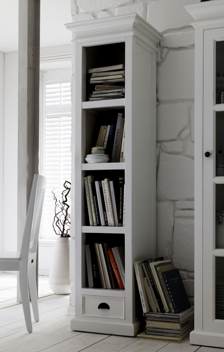 Captivating Belgravia Painted Tall Narrow Bookcase With Drawer