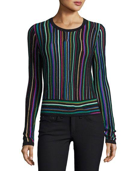 DIANE VON FURSTENBERG Arisha Stripe Knit Sweater, Multicolor, Multi Pattern. #dianevonfurstenberg #cloth #