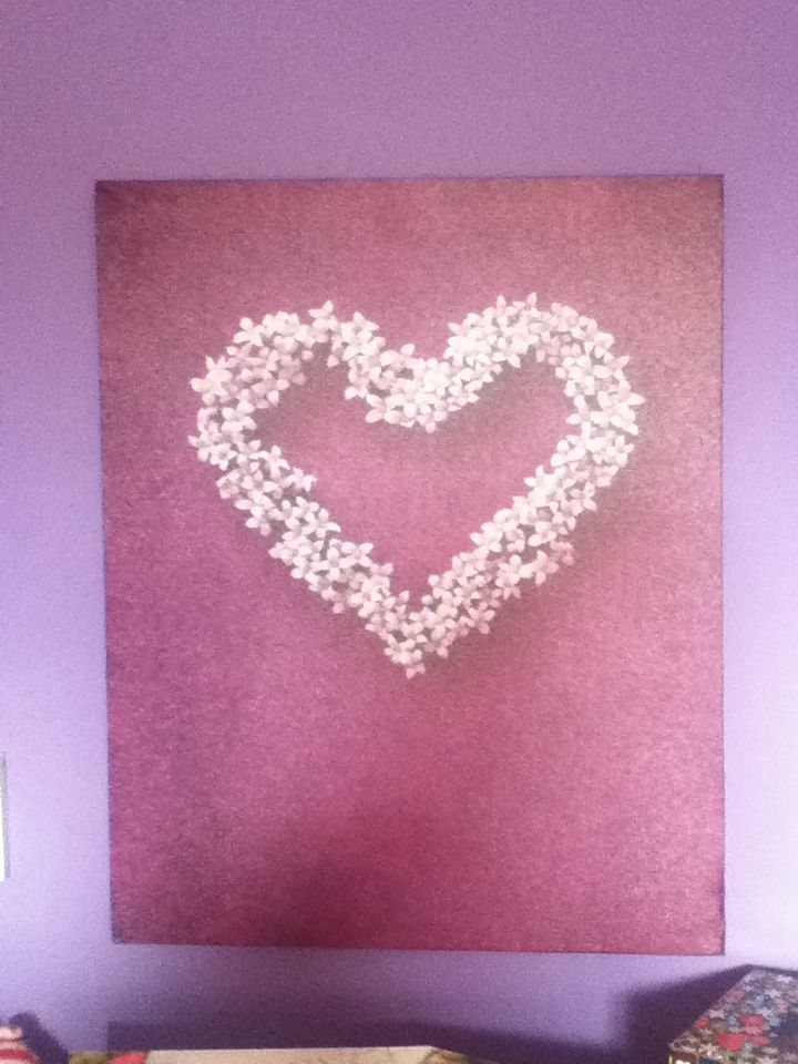 Purple canvas with white flower heart
