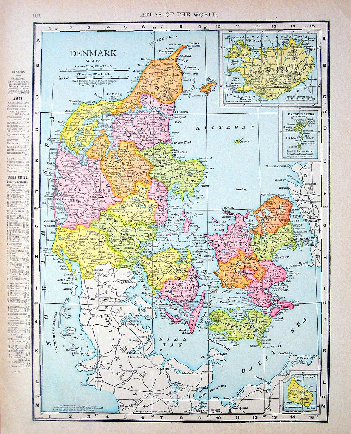 Map denmark norway and sweden vintage antique 1916 book plate items similar to 1914 antique map map of denmark map of norway and sweden world atlas book page 2 sided x 12 on etsy gumiabroncs Gallery