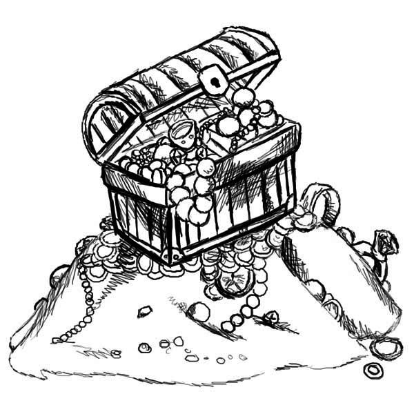 Treasure Chest, : A Sketch Drawing of Treasure Chest