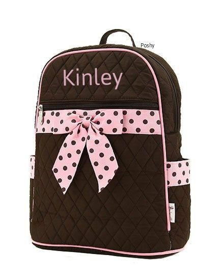 Personalized Diaper Bag Brown Blue Polka Dots Quilted Monogrammed Embroidered