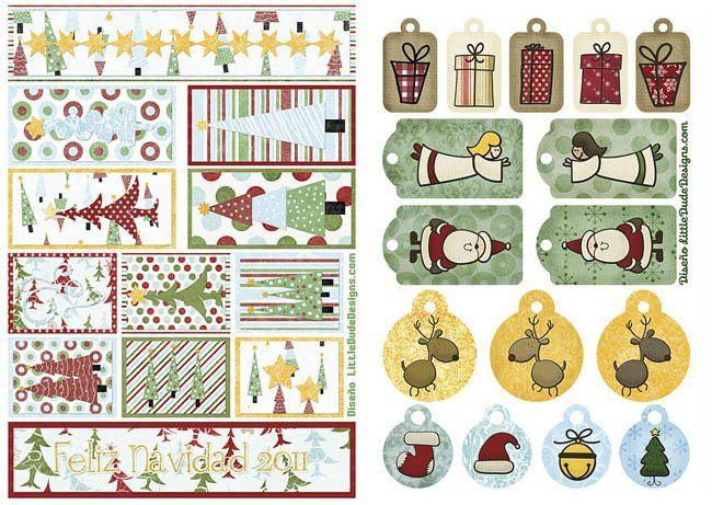 Tarjetas, etiquetas y pegatinas de Navidad para imprimir ...