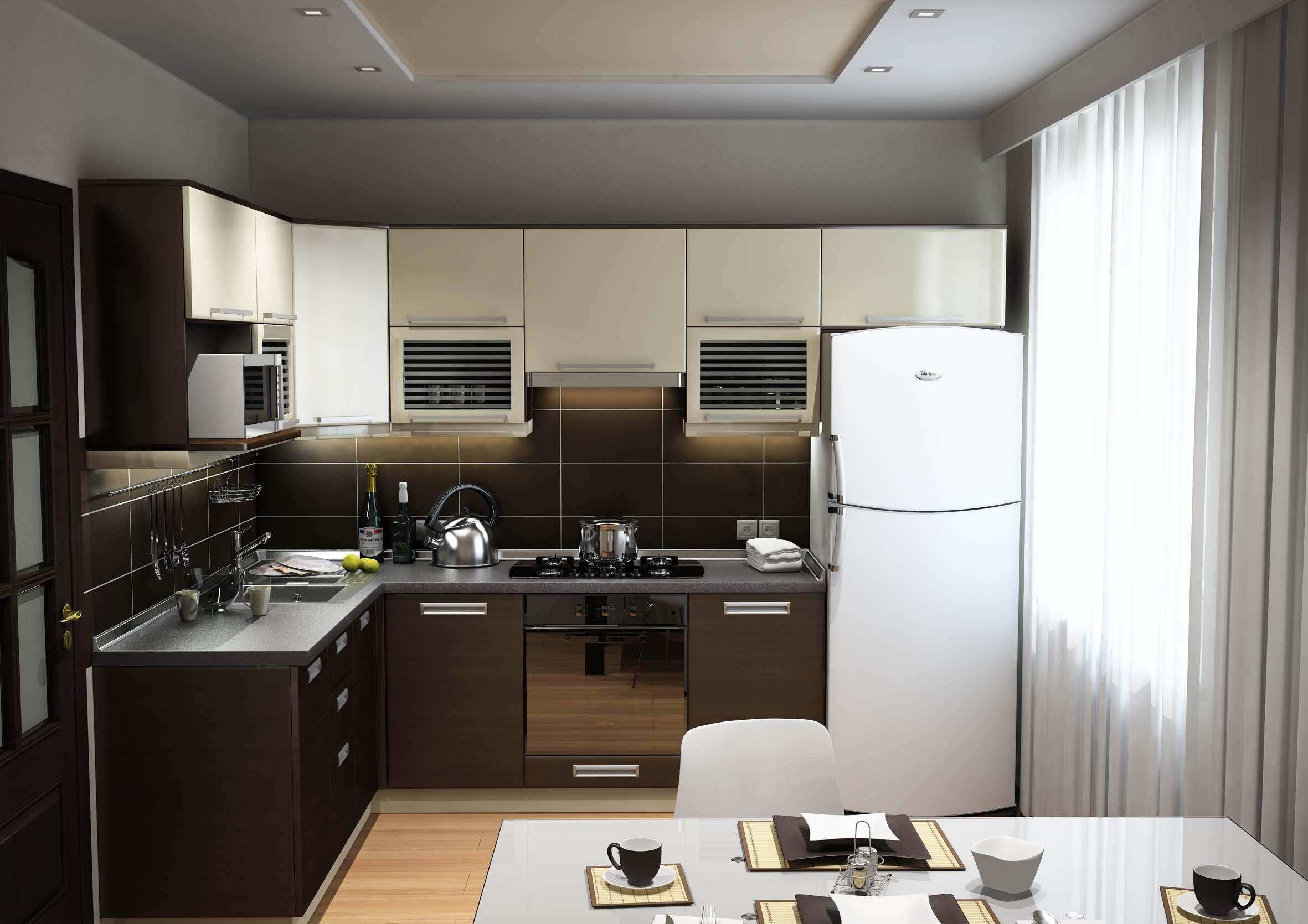 дизайн маленькой кухни в современном стиле фото
