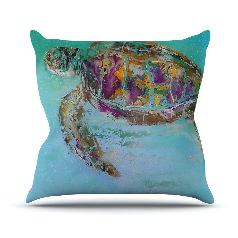 """Josh Serafin """"Mommy"""" Turtle Outdoor Throw Pillow"""
