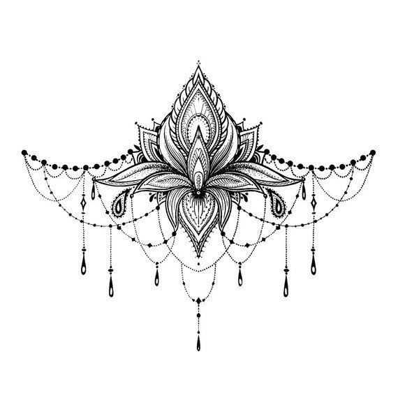 Lotus Underboob Tattoo – Lotus Sternum Temporary Tattoo / Lotus Sexy Underboob Tattoo / Festival Underboob Tattoo / Ornament Underboob #ideisuper