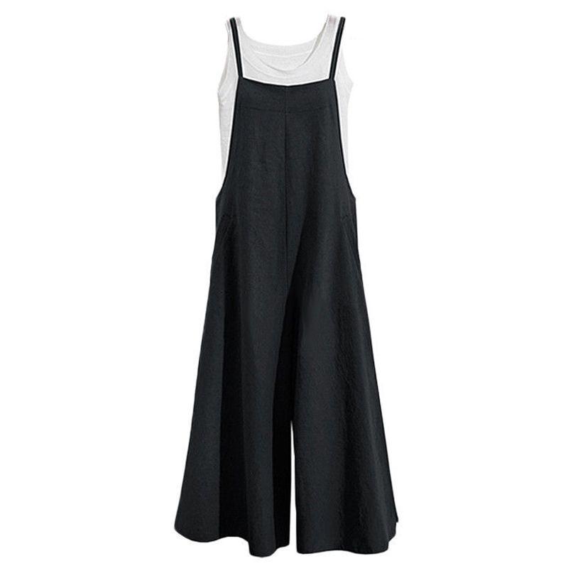 Xxxl Plus Size Tracksuit Jumpsuit Cotton Wide Leg Pantsuit Spaghetti Strap Sleeveless Strappy Rompers Overalls 3