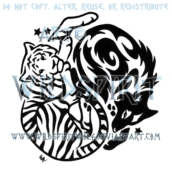 Tribal Tiger By Ruttan On Deviantart: Yin Yang Tiger And Wolf Tribal Design By WildSpiritWolf