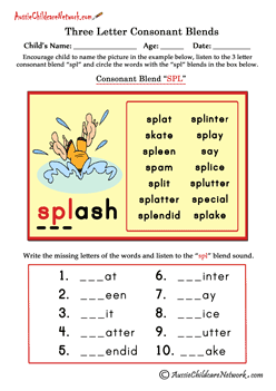 three letter blends | English Phonics | Consonant blends worksheets
