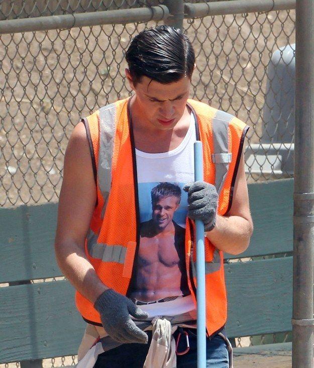 The Guy Who Hit Brad Pitt Is Doing His Community Service In A Brad Pitt T-Shirt