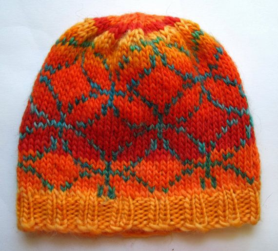 Hand Knit Wool Mosaic Pattern Fair Isle Hat Beanie Colorful Red ...