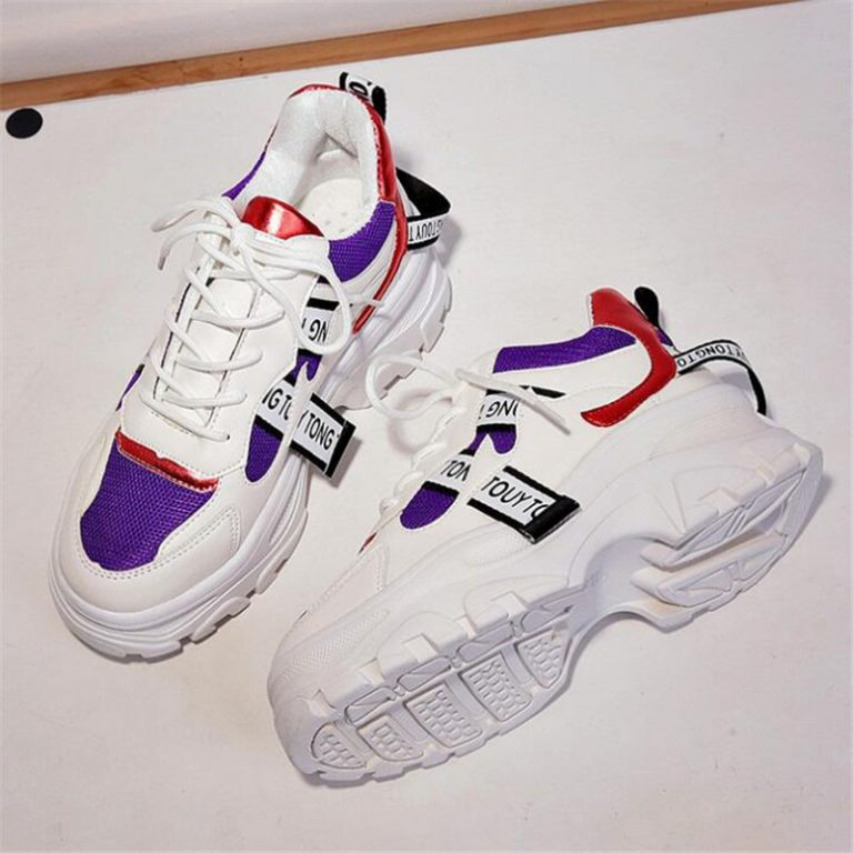 2019 Fashion Trainers Women Sneakers Basket blings Mixed Colors Thick Sole Wedges Shoes,White,37