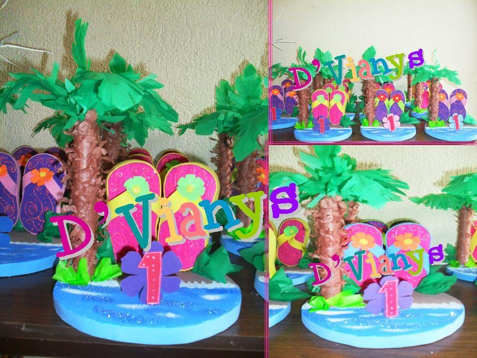 mesa de fiesta infantil fiesta hawaiana centros de mesa detalle de pequeas chanclitas