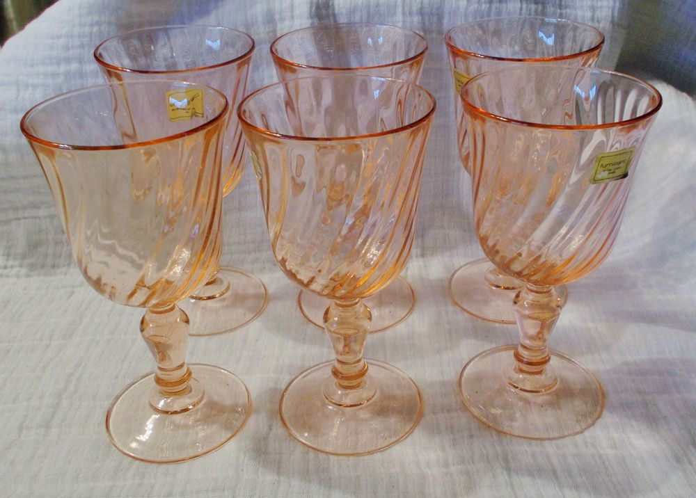 SET OF 6 LUMINARC ROSALINE PINK SWIRL WATER GOBLETS GLASSES FRANCE $49.99