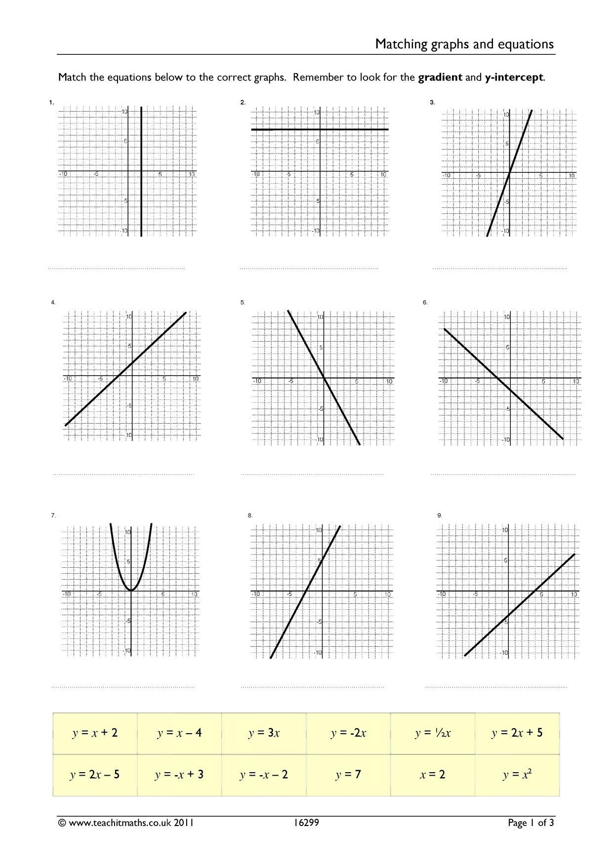 11 Writing Quadratic Equations From Tables Worksheet