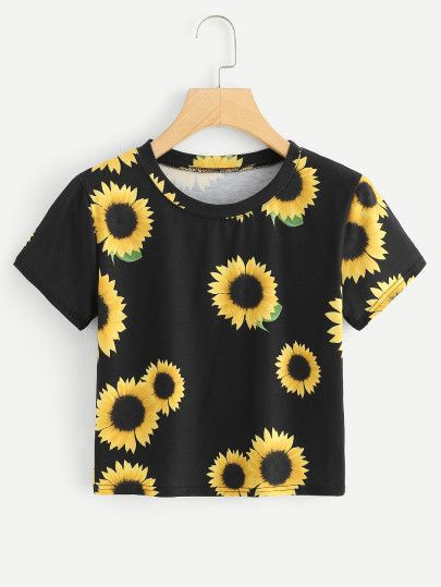 2d3f40c5d Sunflower Print Crop Tee