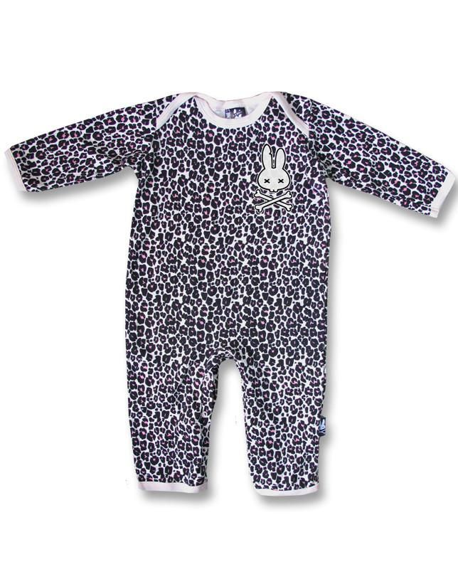 Six Bunnies Baby Leopard Print Bunny w//Crossbones Hoodie Rockabilly