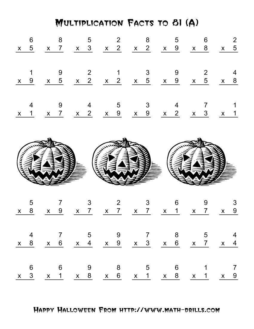 All Operations -- Multiplication Facts to 81 (A)   Halloween math worksheets [ 1100 x 850 Pixel ]