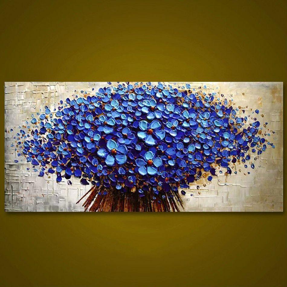Unframed Panel Dark Blue Flower Tree Thick Palette Knife Painting Home Decor Hand Painted Oil Painting Wall Art Picture Abstraktnoe Abstraktnye Kartiny Kartiny