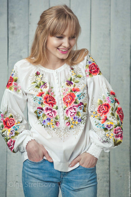 Купить или заказать Вышиванка вышитая блузка