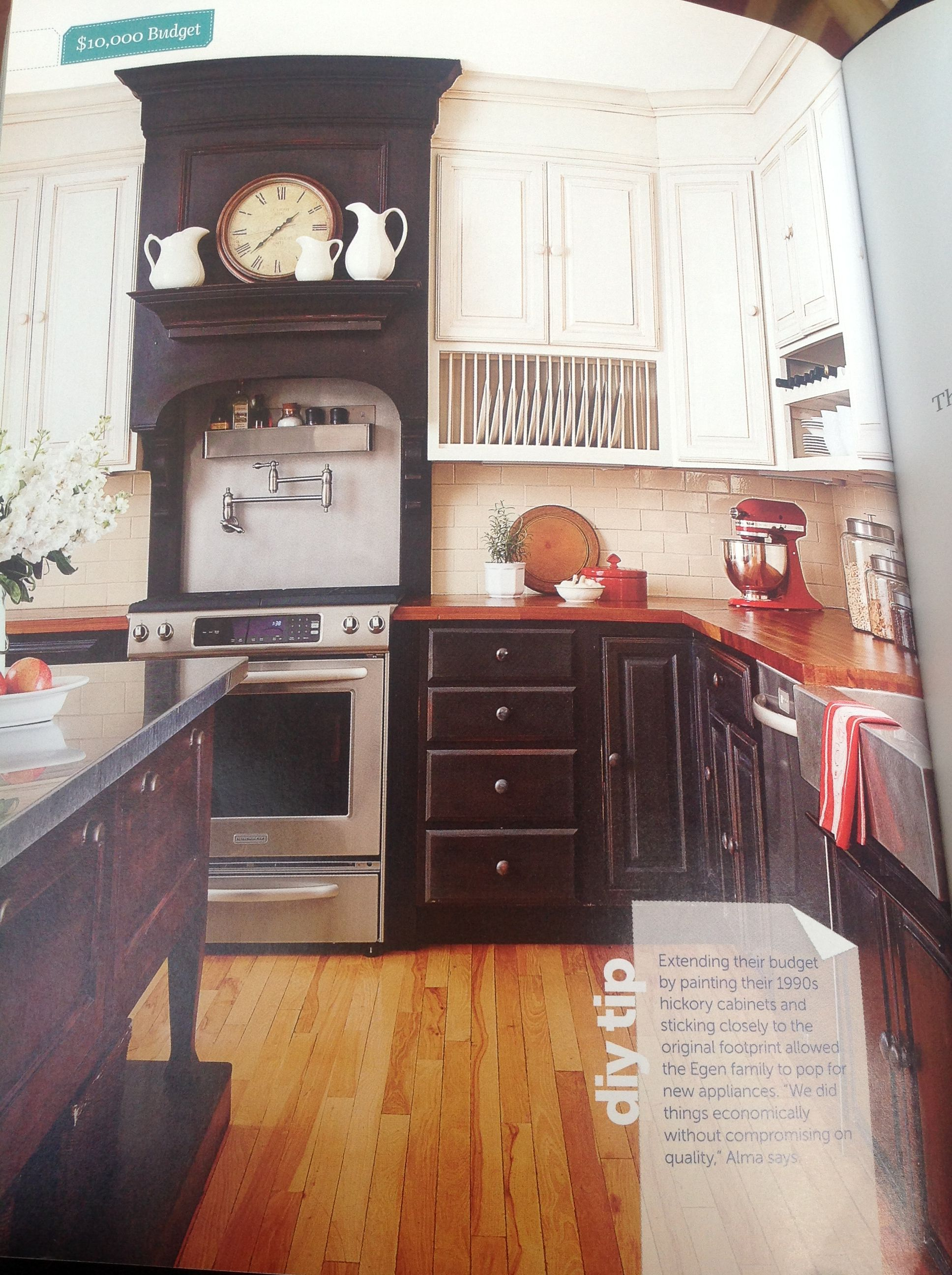 Painted black, white, splash of red Kitchen
