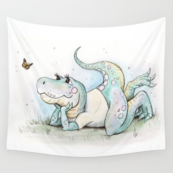 rory and the butterfly Wall Tapestry,by Beth Jorgensen