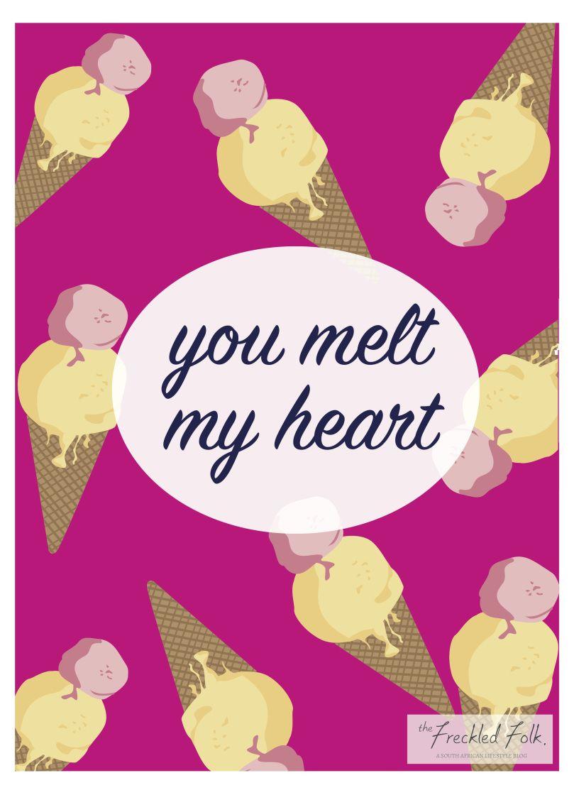 Cute Valentines Day card printable print pineapple ice cream