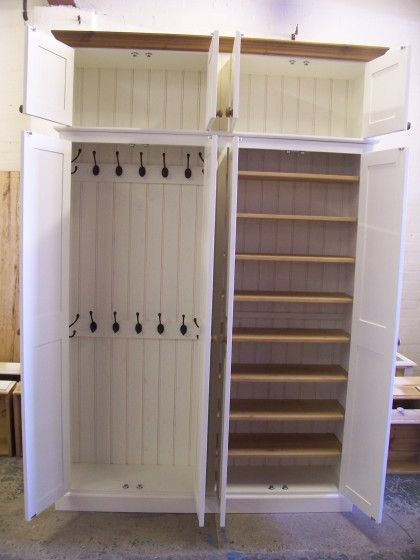 4 Door Hall Coat Shoe Storage Cupboard With Extra Top Storage Painted Off White Cupboard Storage Hallway Shoe Storage Shoe Storage Cupboard
