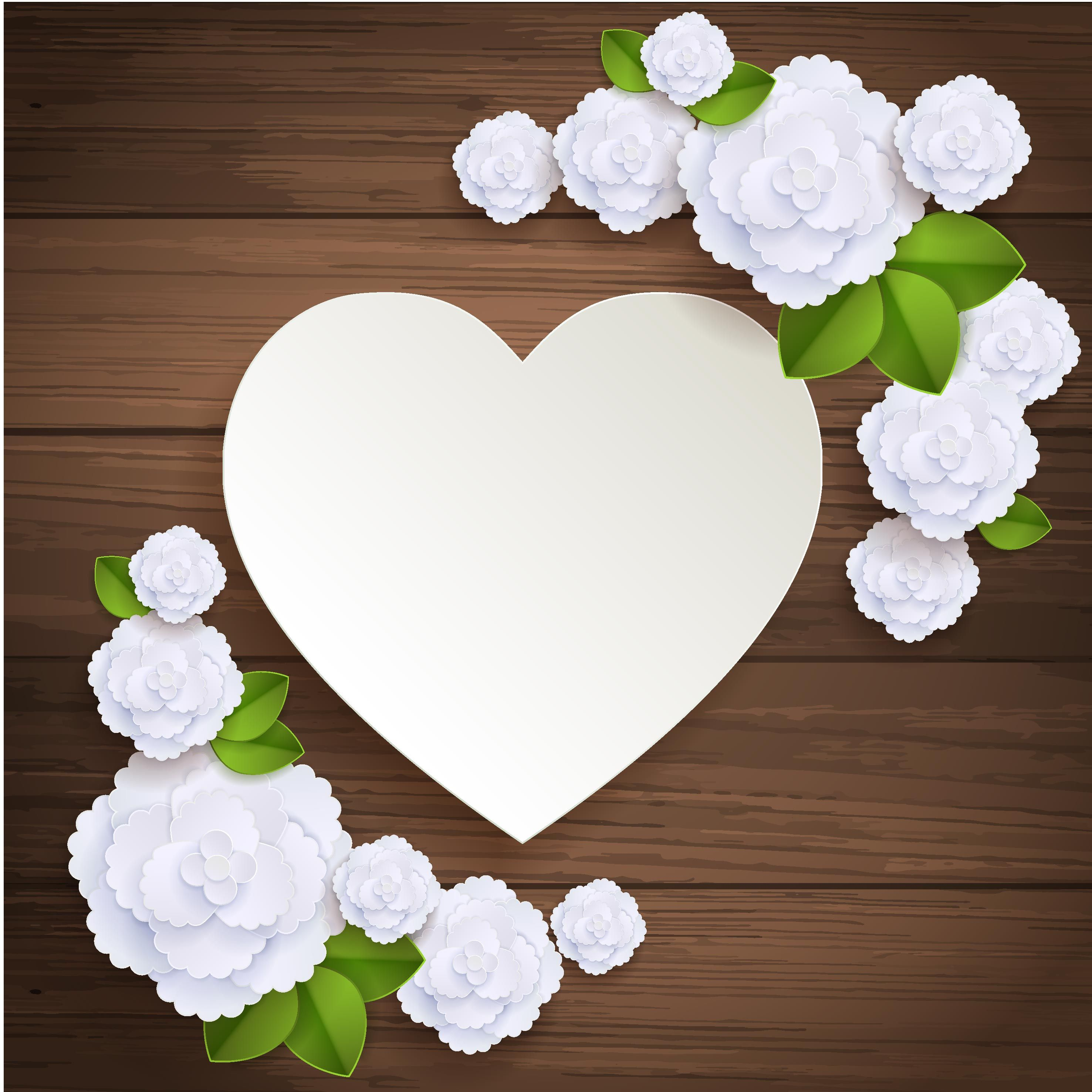 Heart Shaped White Flowers Hand Painted Wooden Background Flower Background Wallpaper Flower Frame Print Design Art