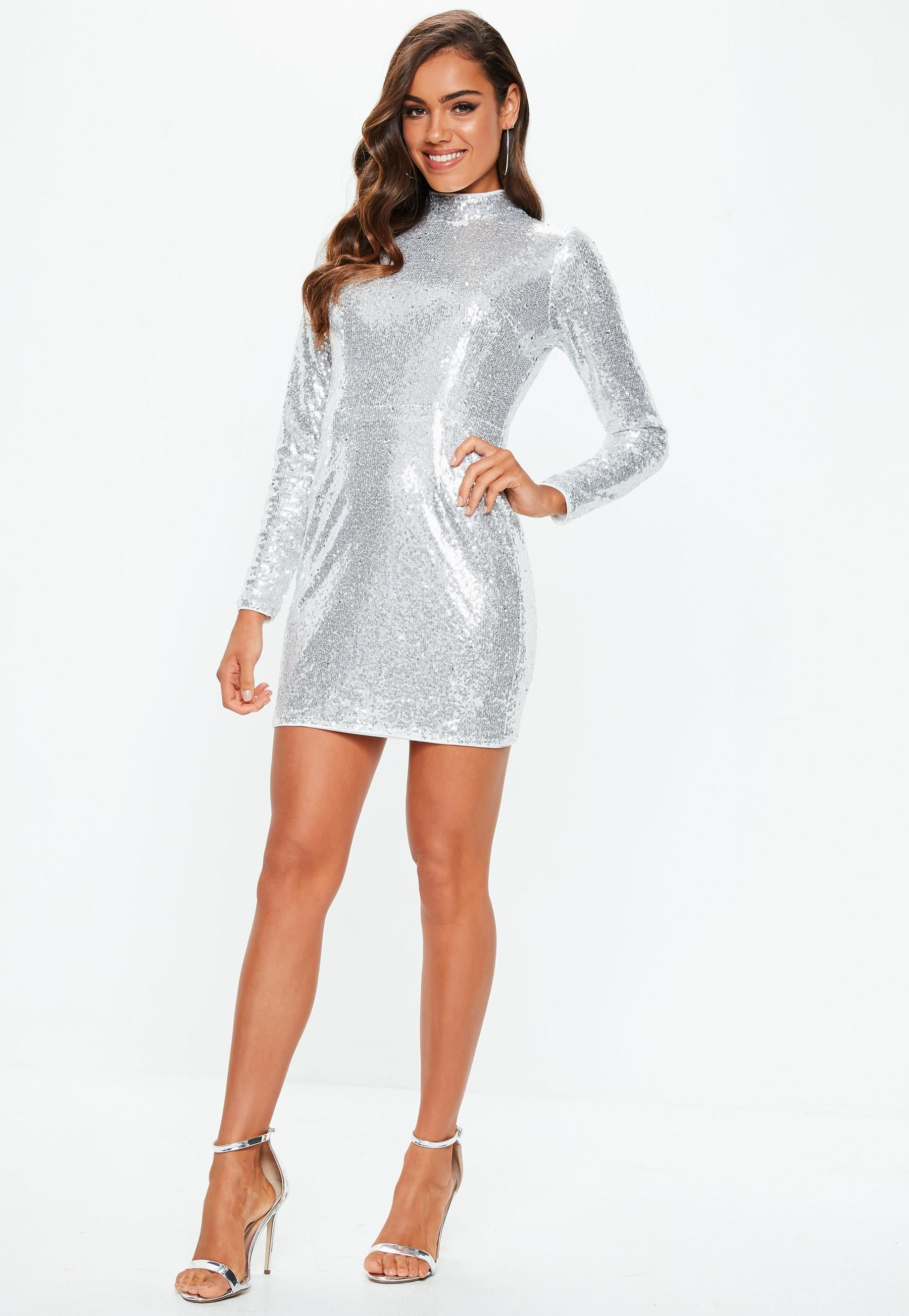 4dccd3ce17 Missguided - Silver Sequin High Neck Mini Dress