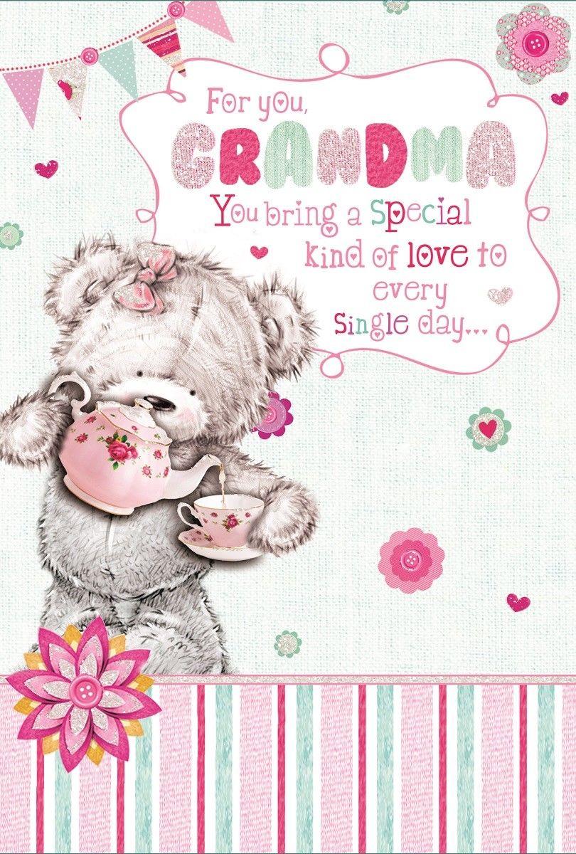 Grandma birthday card grey bear pink teapot flowers u bunting