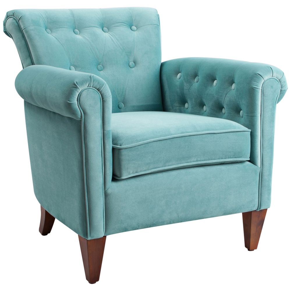 Best Giovanni Arctic Blue Velvet Tufted Accent Chair Style 400 x 300