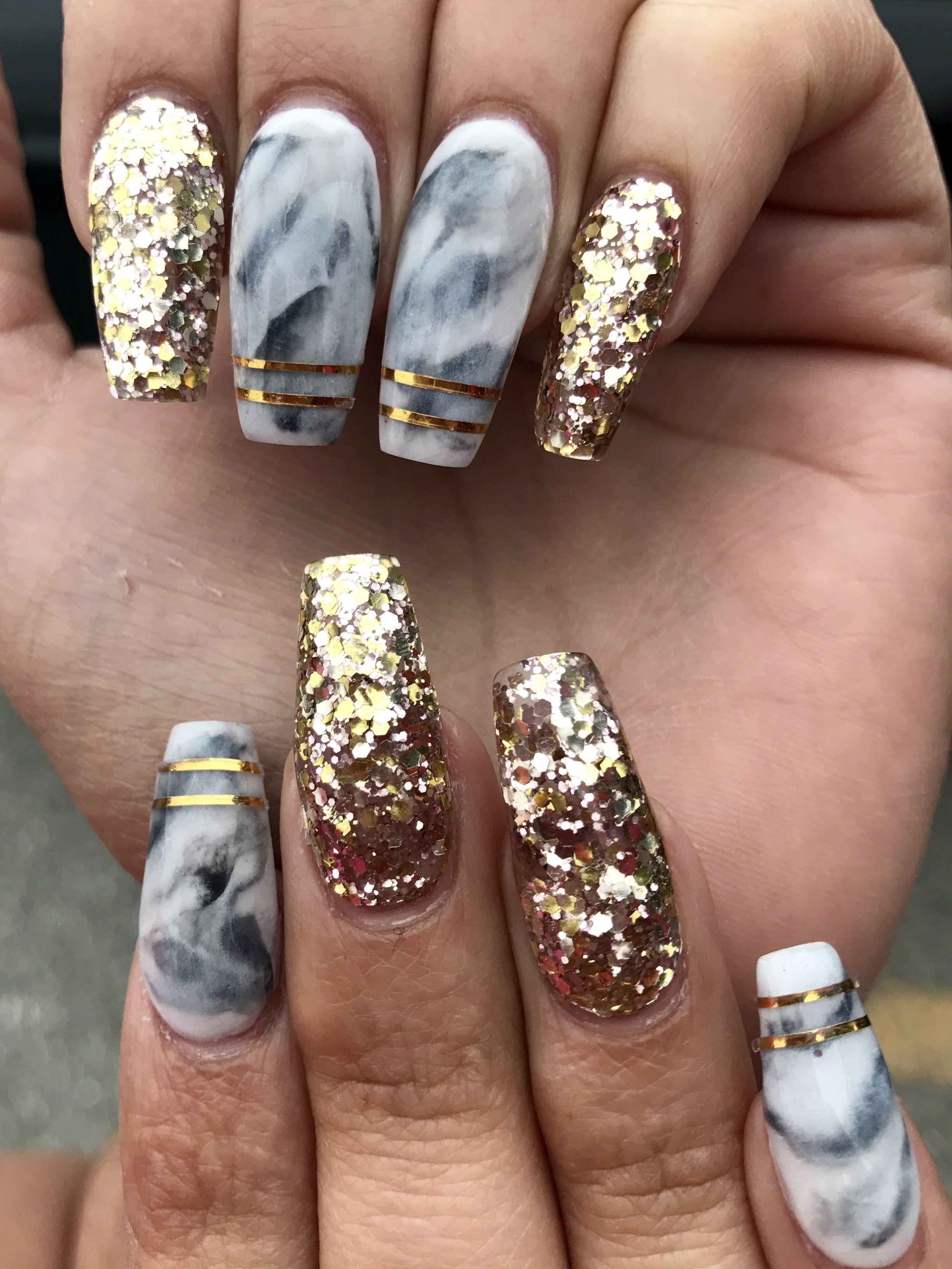 Marble acrylic nails   Makeup Hair & Nails❤   Pinterest   Prom ...