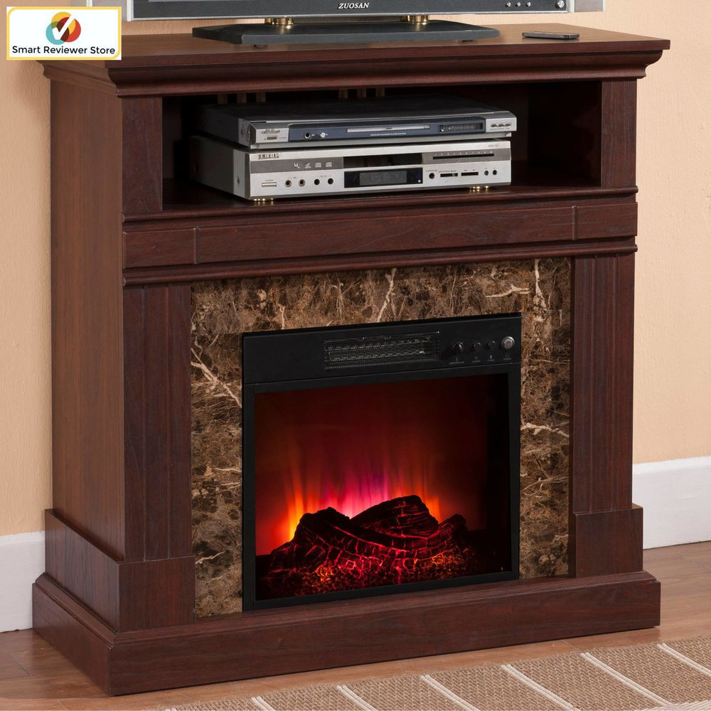 36 Inch Tv Stand With Fireplace Media Console Electric