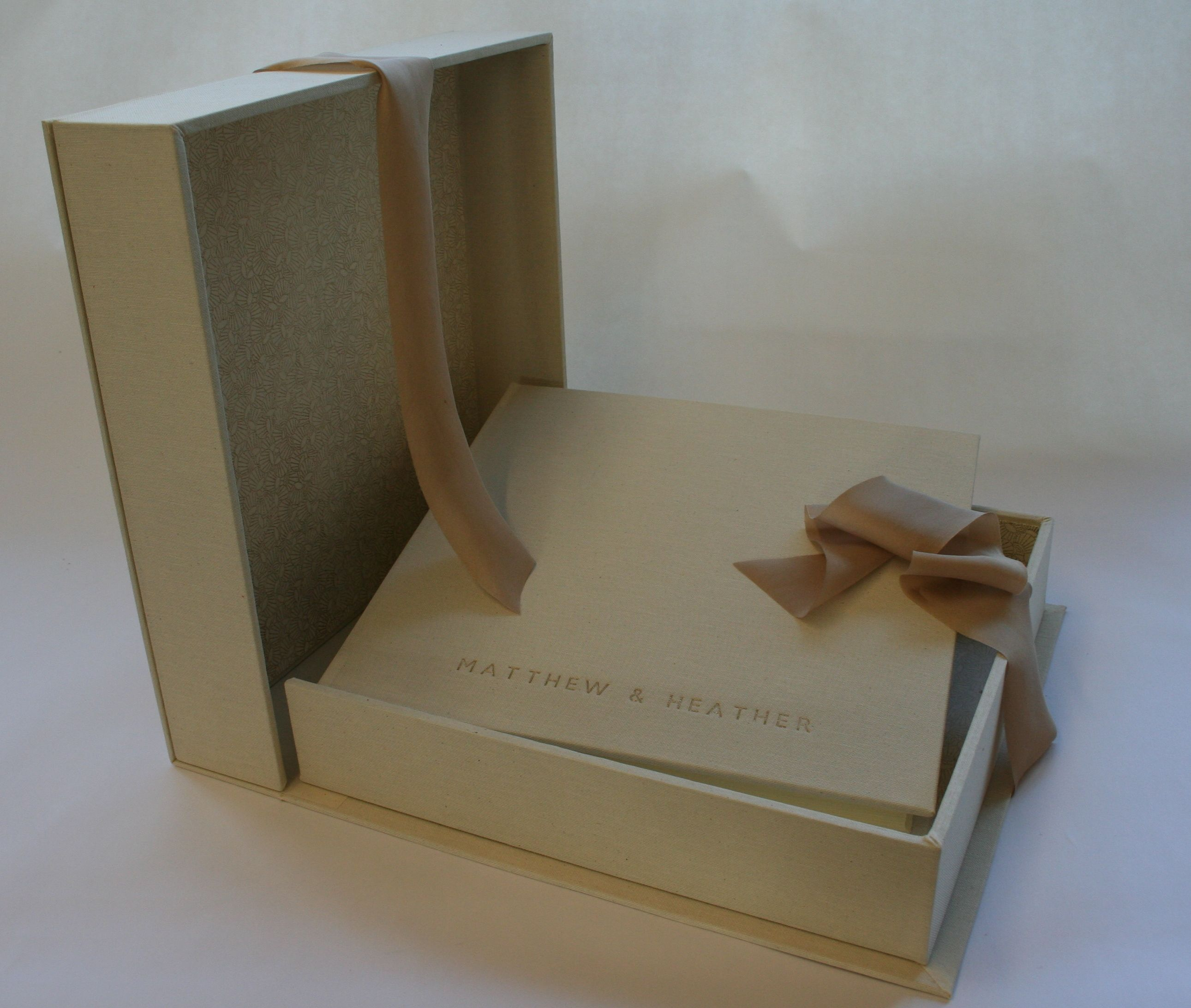 Antique White Linen Wedding Album With Matching Storage Box. Personalised  Lettering And Printed Chiyogami Paper