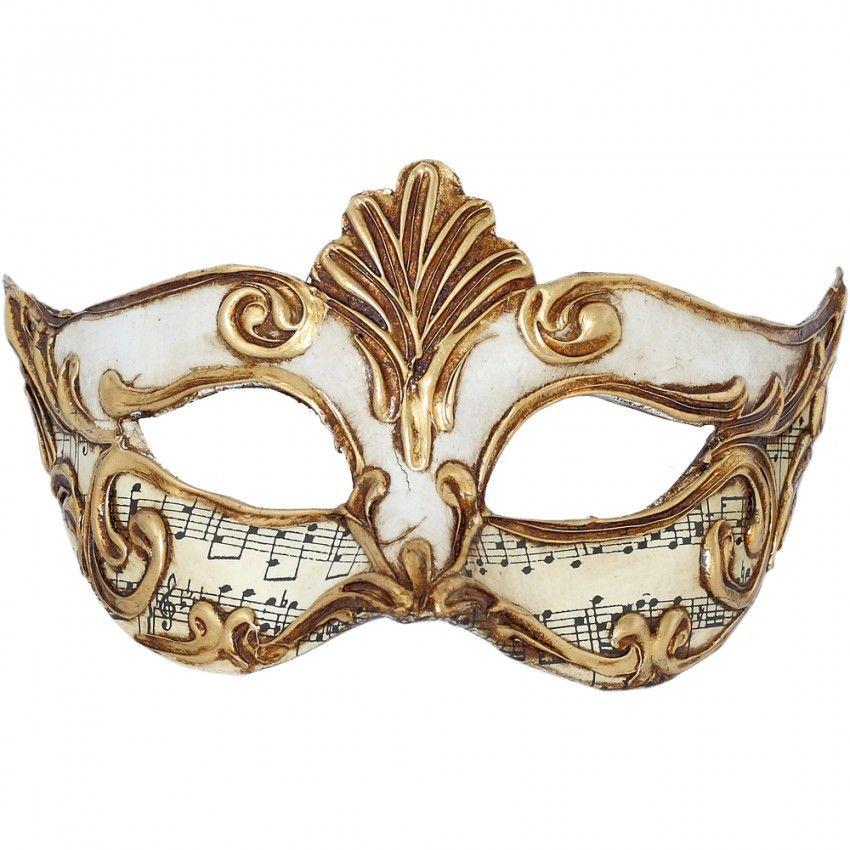 Maschera Veneziana COLOMBINA DIADEMA BIANCO MUSICA