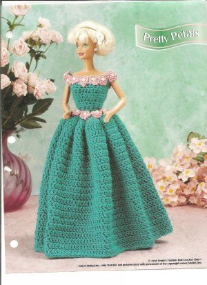 Annies Attic Pretty Petals Barbie Doll Size Gown Crochet Pattern