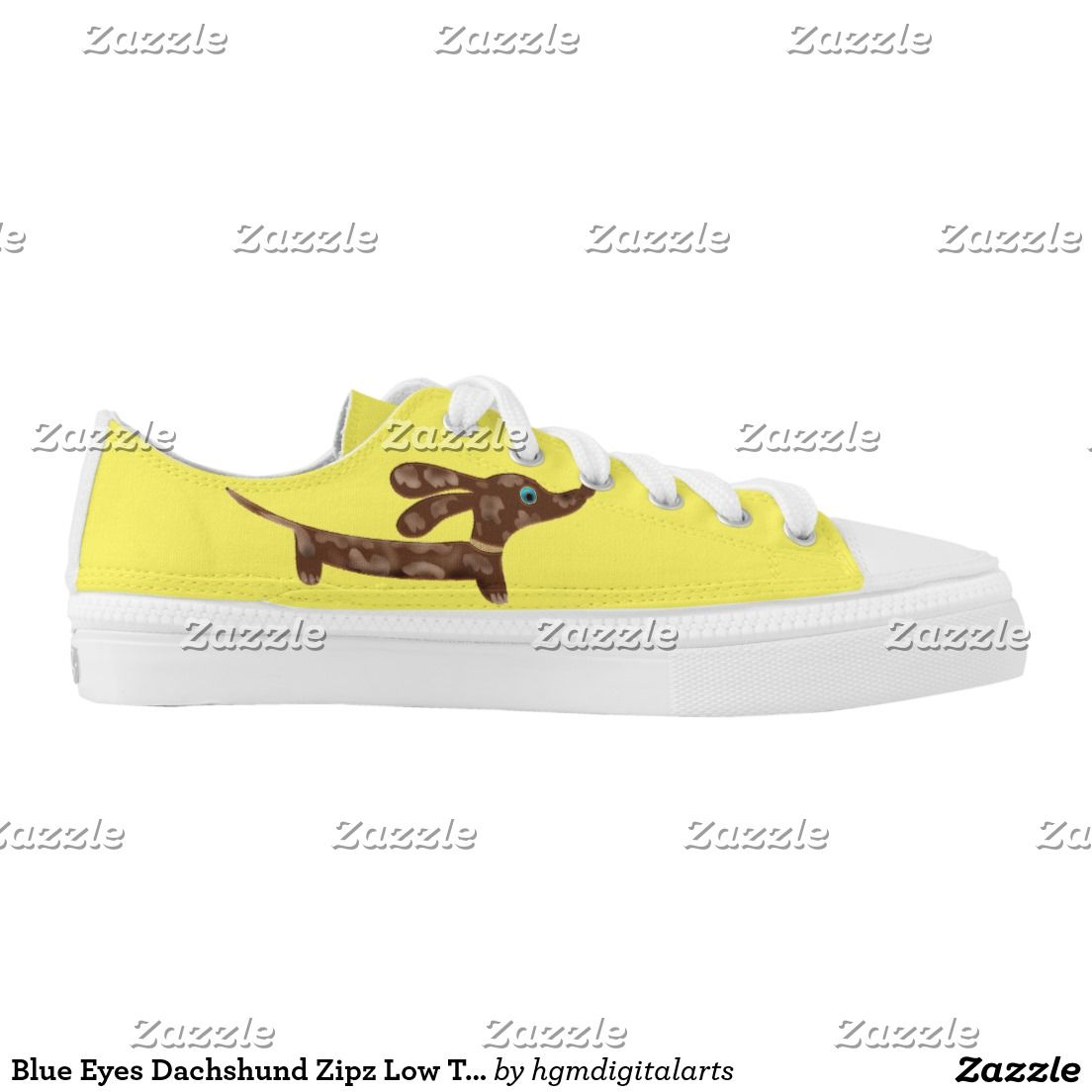Blue Eyes Dachshund Zipz Low Top Shoes US-Women Printed Shoes