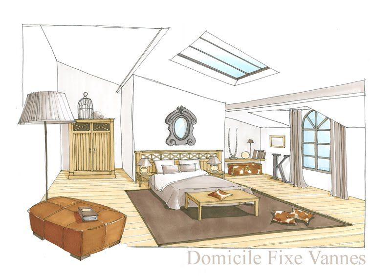Dessins d 39 interieur de maisons en perspective architecte for Dessin architecture interieur