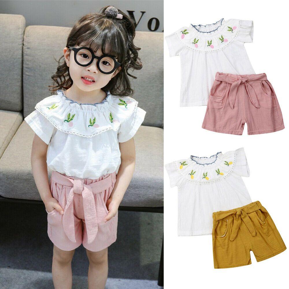 4b08e1c1ab Sponsored)eBay - US 2PCS Kid Baby Girl Outfit Summer Short Sleeve T ...