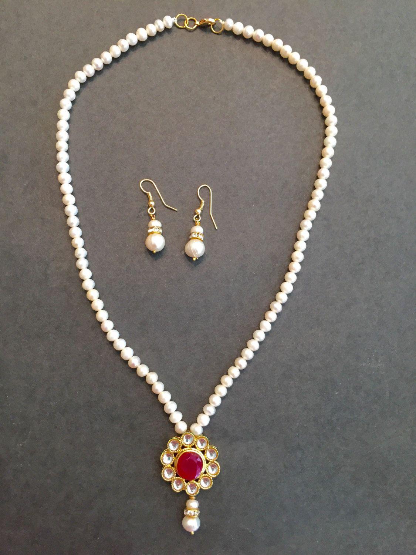 Sale on pearl jewelry set with kundan pendant freshwater pearls set